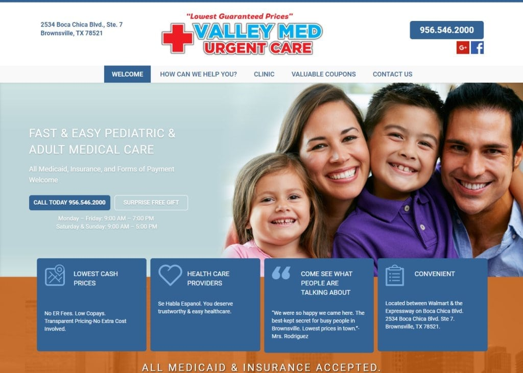 carevm.com - Screenshot showing homepage of Valley Med Urgent Care - Brownsville, TX website