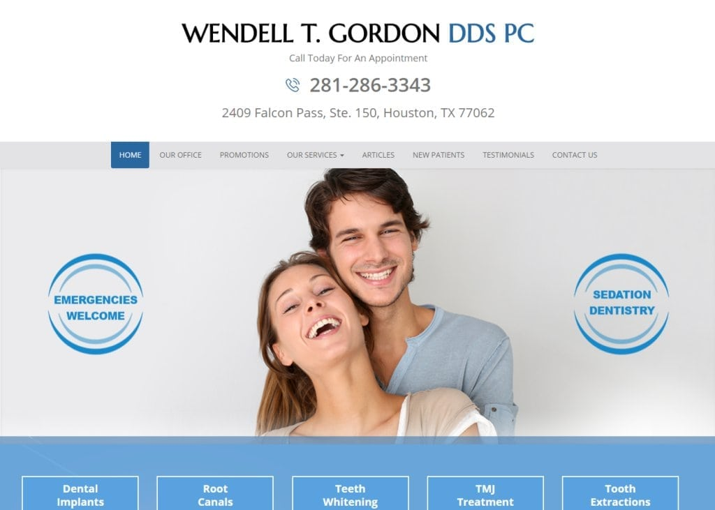 wgordondds.com screenshot - Showing homepage of Wendell T. Gordon, D.D.S., P.C. - Clear Lake, TX website