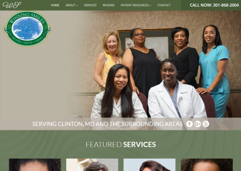 Winningsmilesfamilydentistry.com screenshot showing homepage of Winning Smiles Family Dentistry - Clinton Dentist - Dr. Trang Nguyen - Clinton, MD website