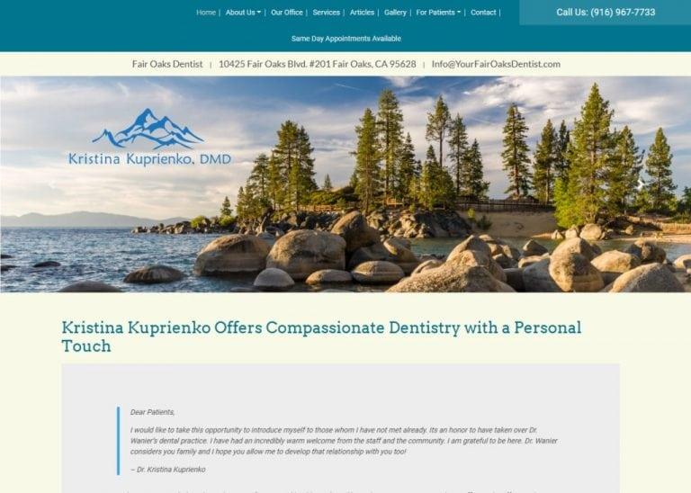 Yourfairoaksdentist.com screenshot showing homepage of Your Fair Oaks Dentist,Kristina K Kuprienko DMD -Fair Oaks,CA website