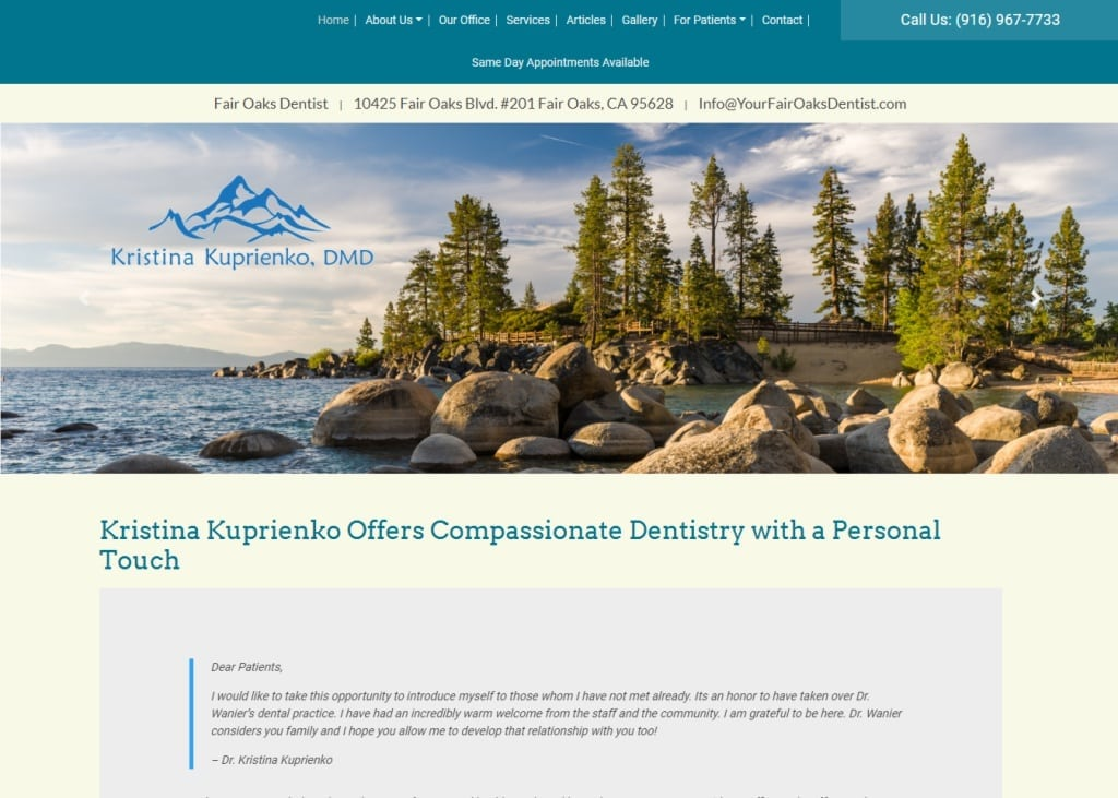Yourfairoaksdentist.com screenshot showing homepage of Your Fair Oaks Dentist, Kristina K Kuprienko DMD - Fair Oaks, CA website