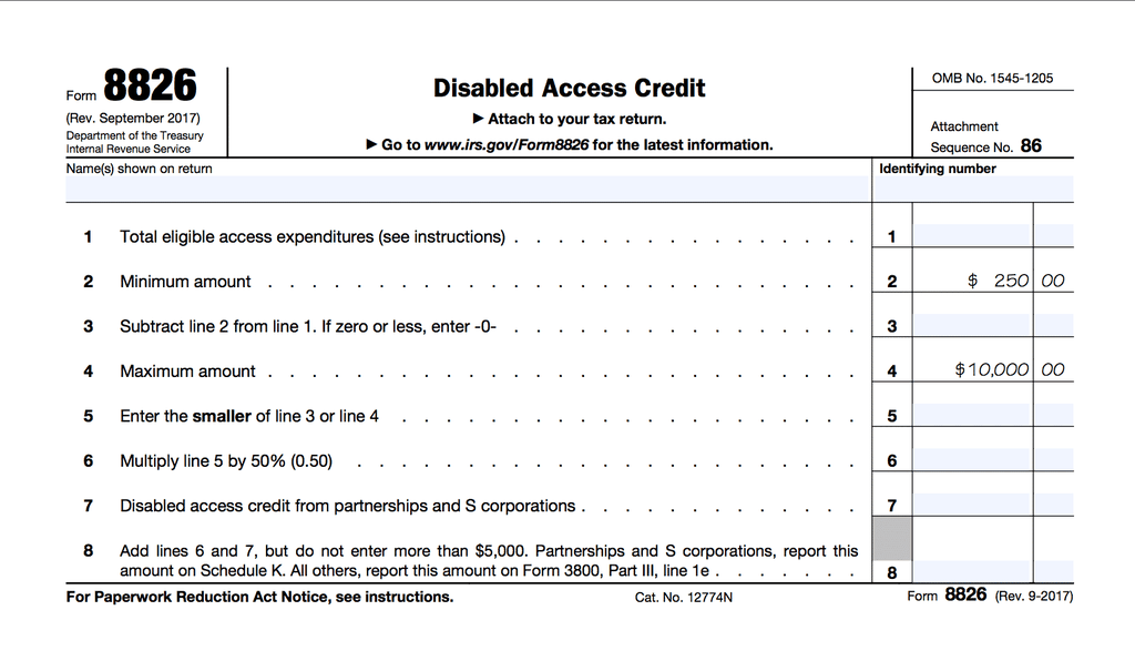 Screenshot of IRS form f8826 - tax credit for ADA compliance upgrades
