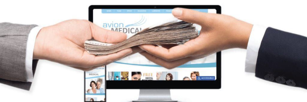 Hands exchanging money with a medical website on a monitor on the background