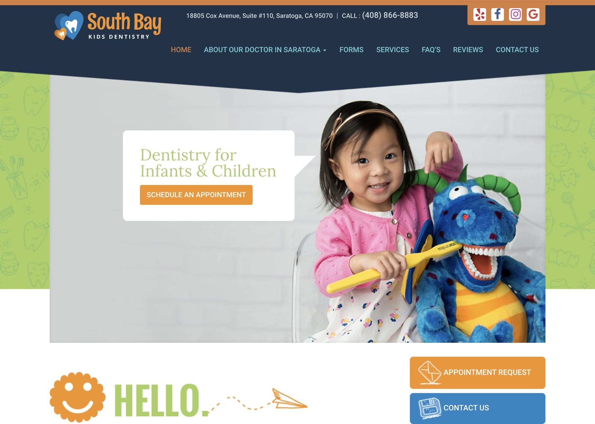 south bay pediatric dentist website