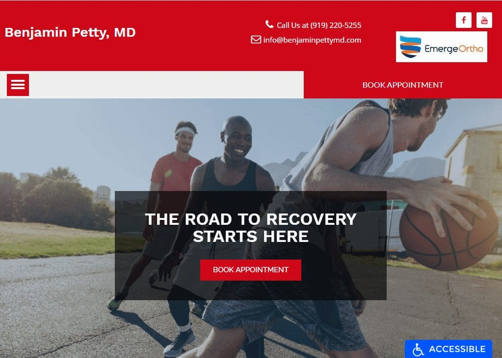 benjaminpettymd.com - Screenshot showing homepage of Benjamin Petty, MD Website