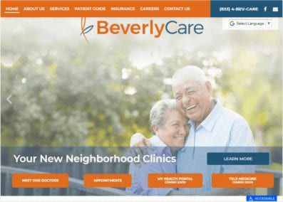 Beverlycare.org - Screenshot showing homepage of BeverlyCare website.