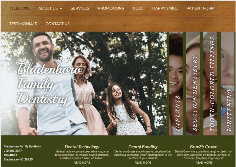 http://bladenborofamilydentistry.com - Screenshot showing homepage of Bunin Dental Website