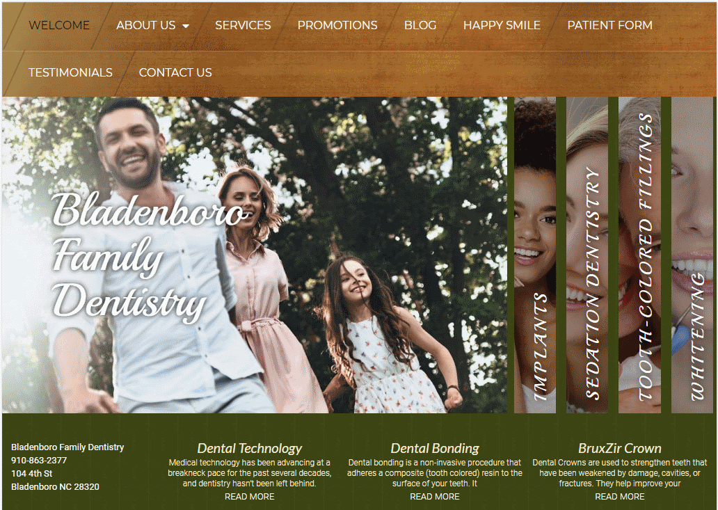 http://bladenborofamilydentistry.com - Screenshot showing homepage of Bunin Dental Website