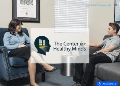 centerforhealth.com - Screenshot showing the homepage of The Center For Healthy Minds
