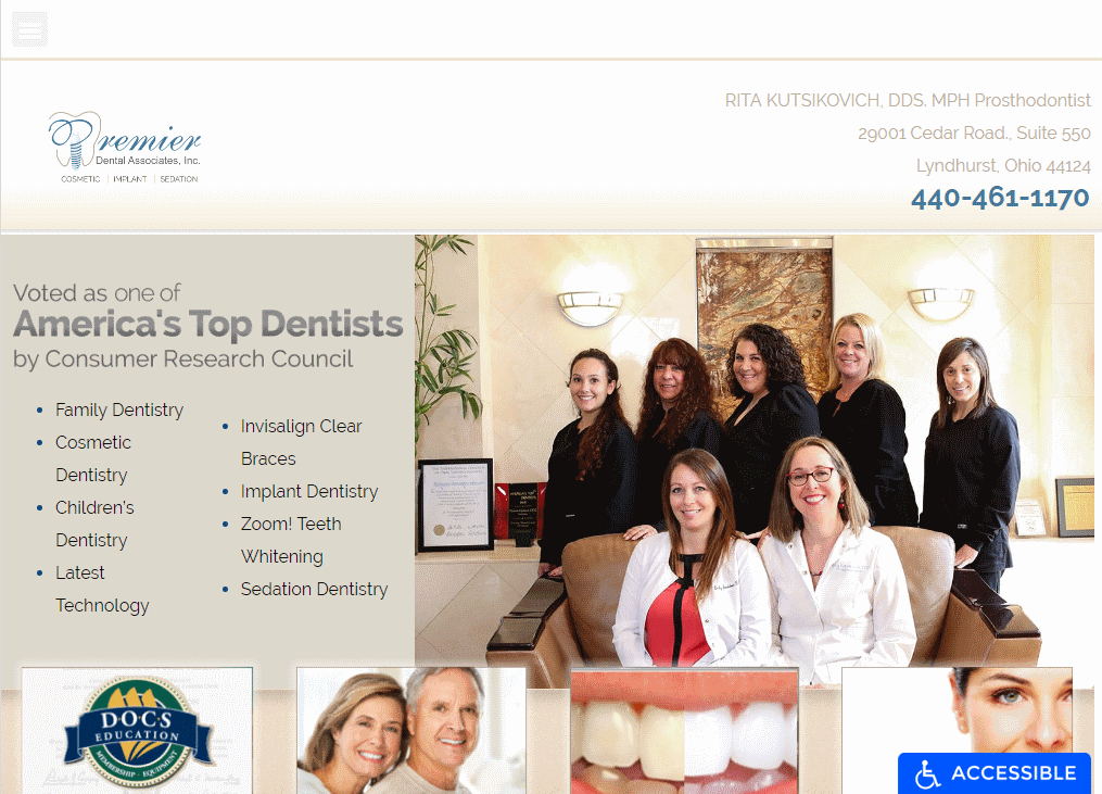 clevelanddentistohio.com - Screenshot showing homepage of Premier Dental Website