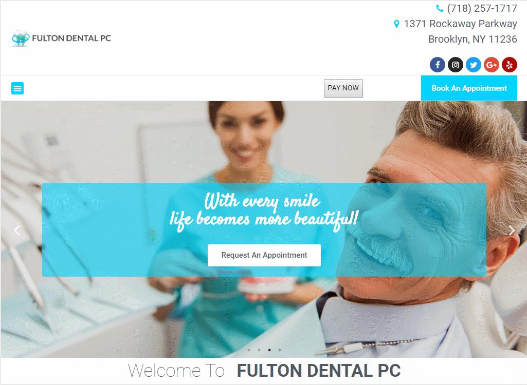 Fultondentalpc.com - Screenshot showing homepage of Fulton Dental website