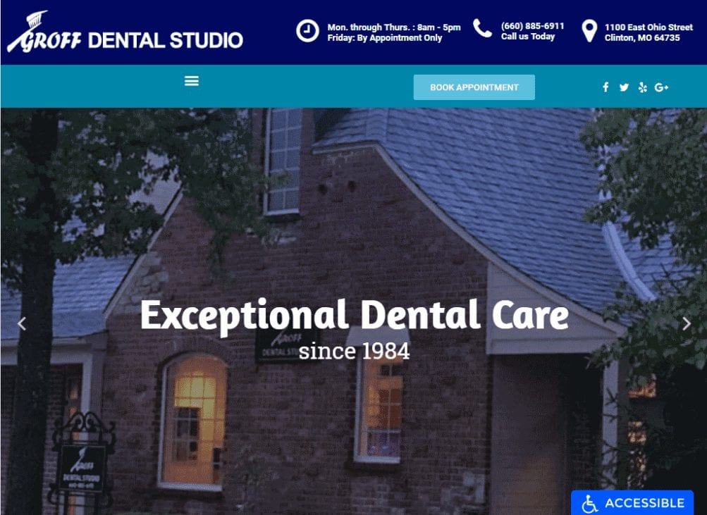 Groffdentalstudio.com - Screenshot showing homepage of Groff Dental Studio website