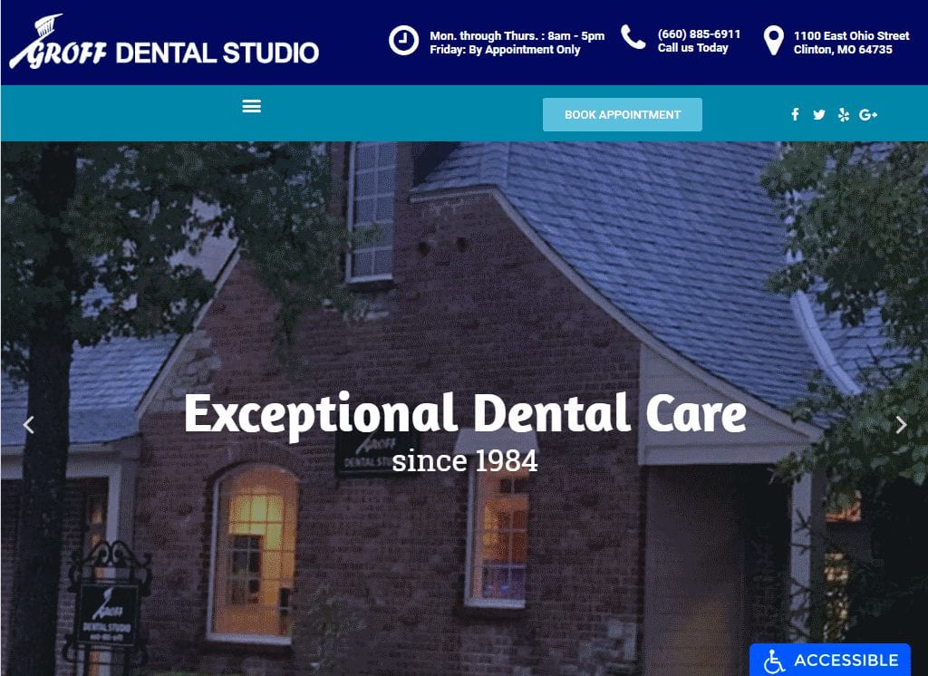Groffdentalstudio.com - Screenshot showing homepage of Groff Dental Studio website