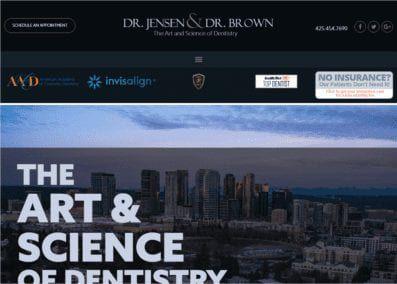 jensenbrowndds.com - Screenshot showing homepage of Dr. Jensen & Dr. Brown website