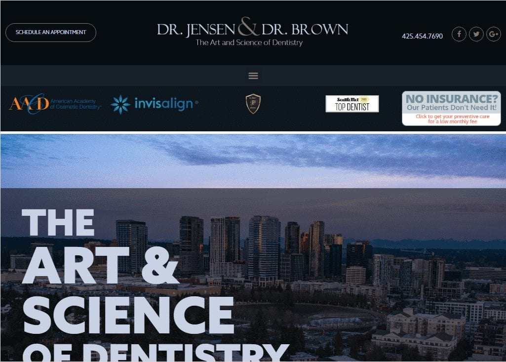 jensenbrowndds.com - Screenshot showing homepage of Dr. Jensen & Dr. Brown website
