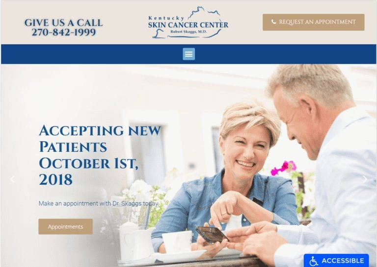 kentuckyskincancercenter.com - Screenshot showing homepage of Kentucky Skin Care Center website