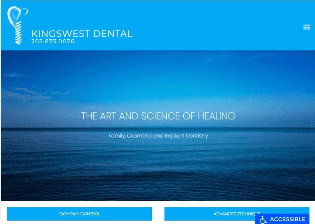 kingswestdental.com - Screenshow showing homepage of Kingswest Dental website