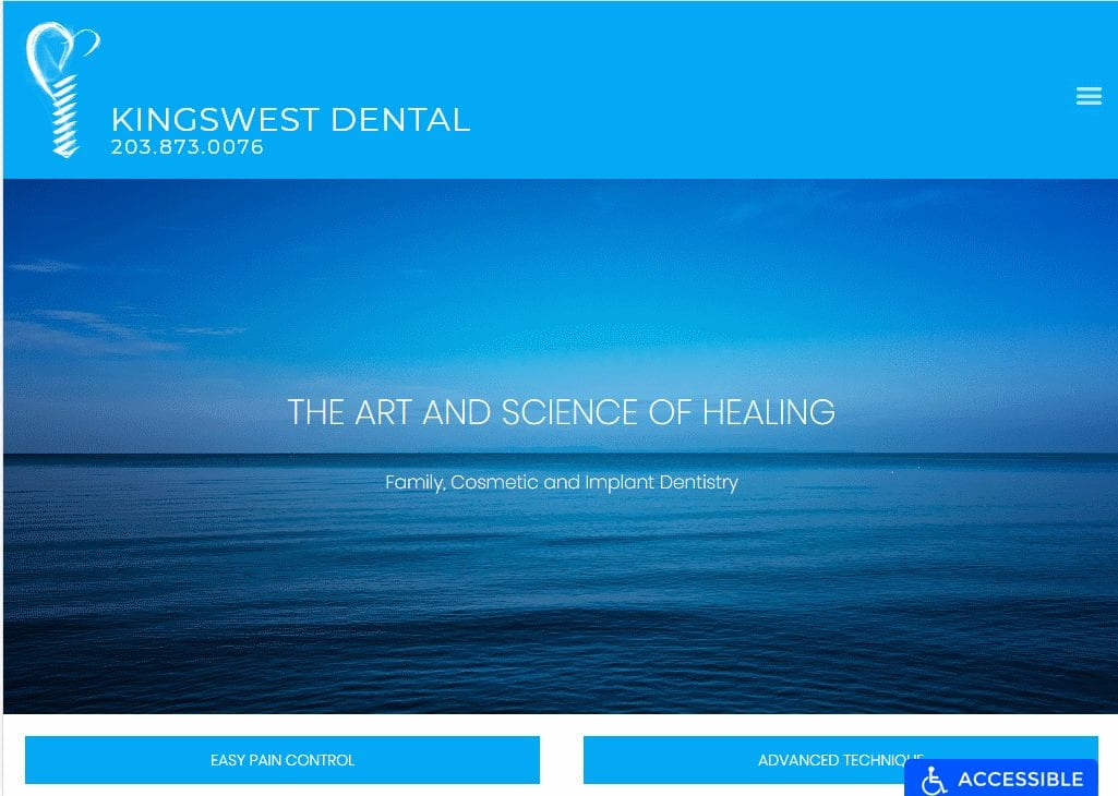 kingswestdental.com - Screenshow showing homepage of Kingswest Dental website