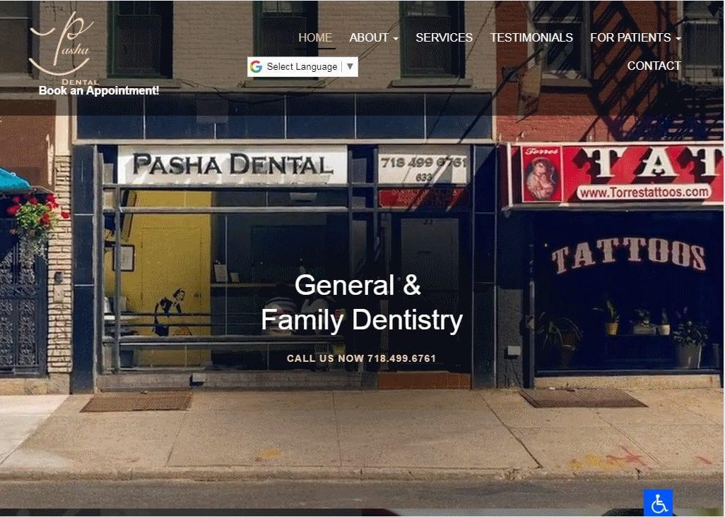 Pashadental.com - Screenshot showing homepage of Pasha Dental website