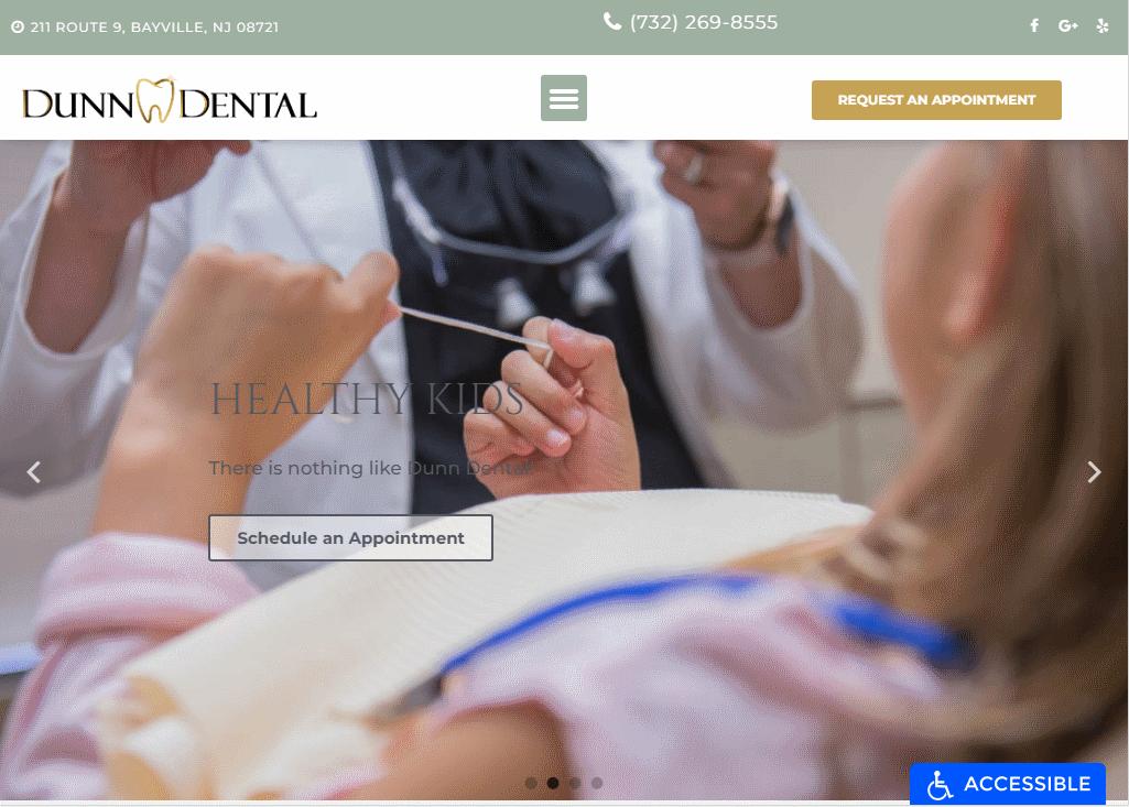https://dunndental.com/ - showing homepage of Dunn Dental Website