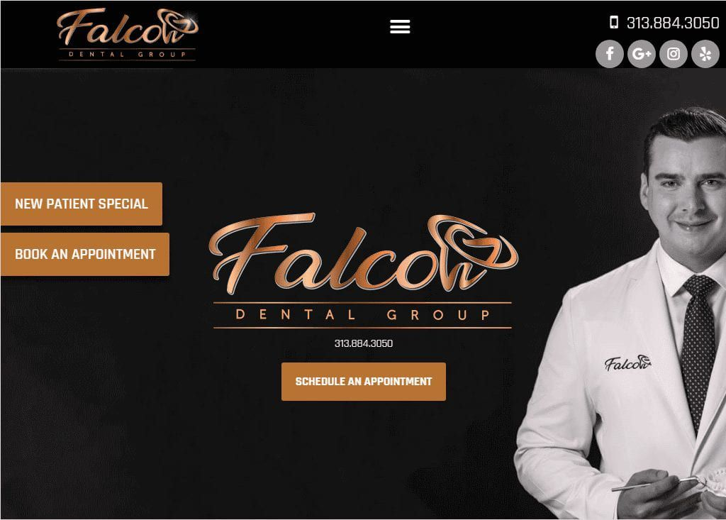 https://falcondentalgroup.com/ - Screenshot showing homepage of Falcon Dental Group website