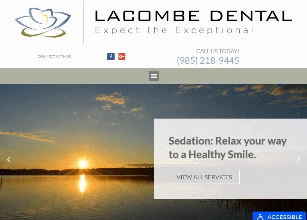 Mylacombedental.com - Screenshot showing homepage of Lacombe Dental website