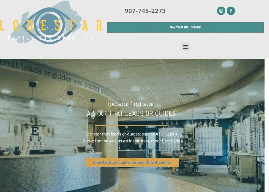 Lodestareye.com - Screenshot showing homepage of Lodestar Eye website