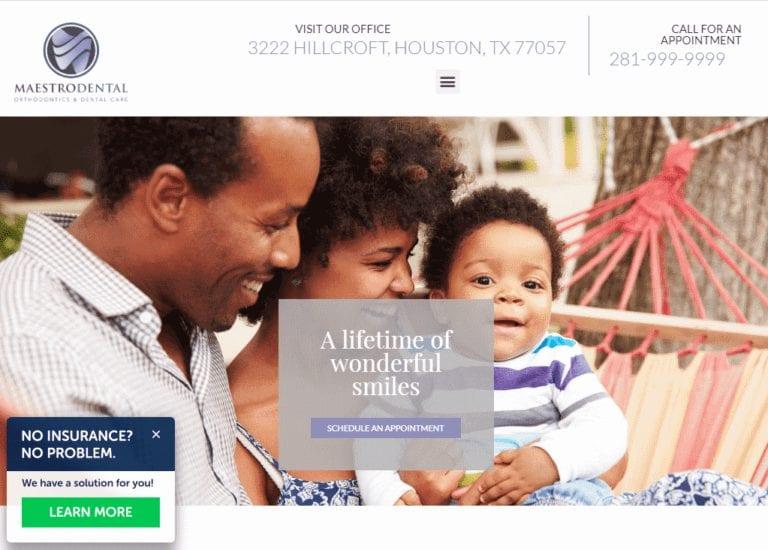 Maestrodental.com - Screenshot showing homepage of Maestro Dental website
