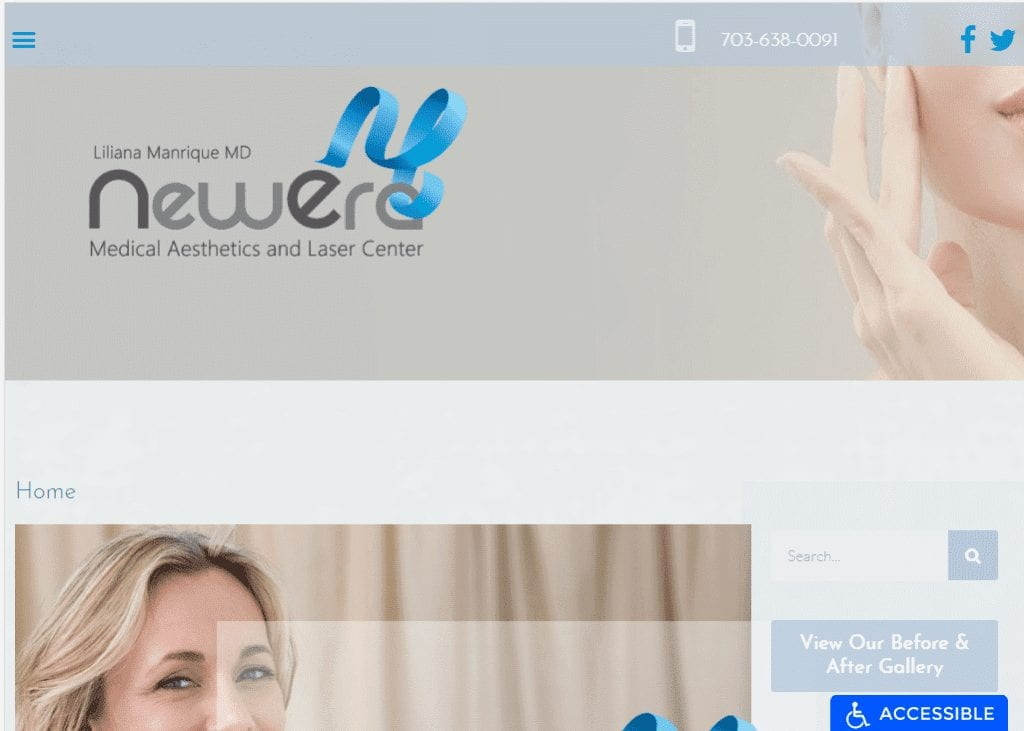 Manriquemdaesthetics.com - Screenshot showing homepage of New Era website