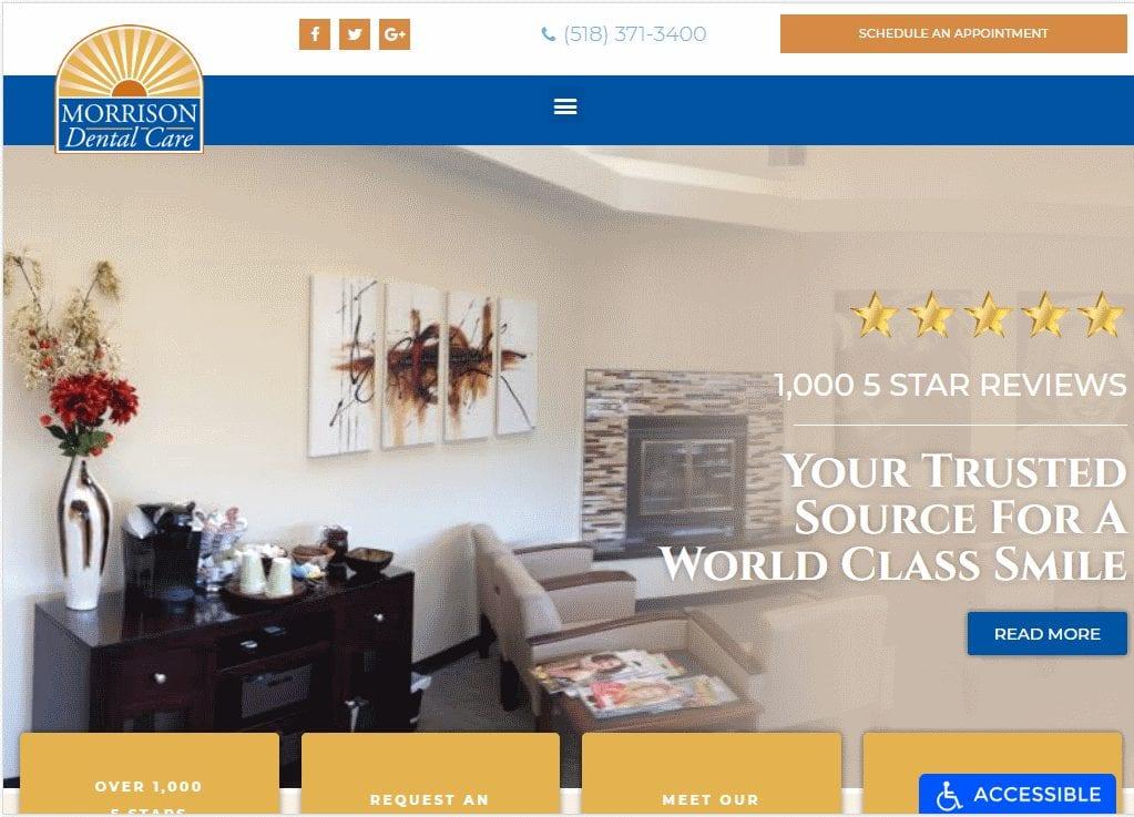 Morrisondentalcare.com - Screenshot showing homepage of Morrison Dental Care website
