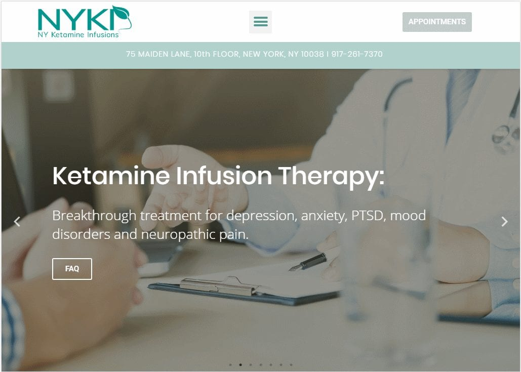 Nyketamine.com - Screenshot showing homepage of NY Ketamine Infusions website