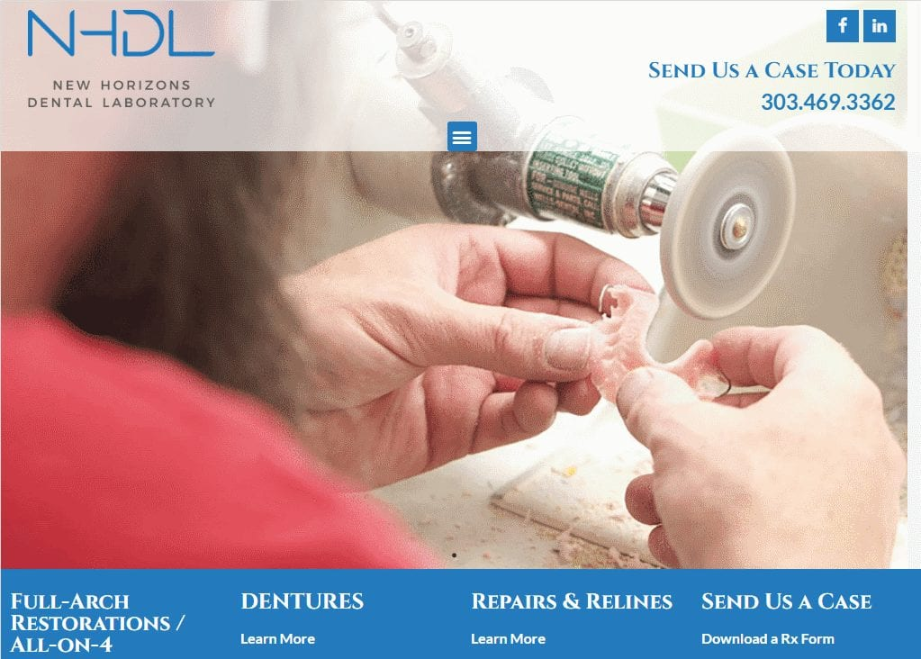 Newhorizonsdentallab.com - Screenshot showing homepage of New Horizons Dental Laboratory website
