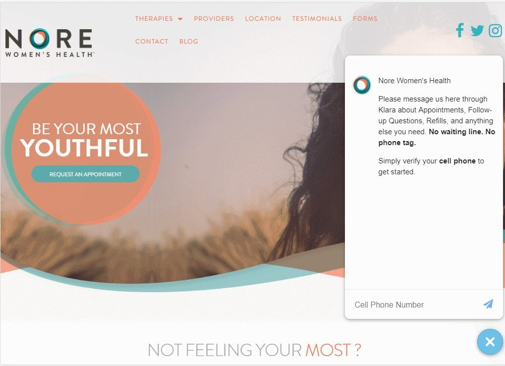 Norehealth.com - Screenshot showing homepage of Nore Women's Health website