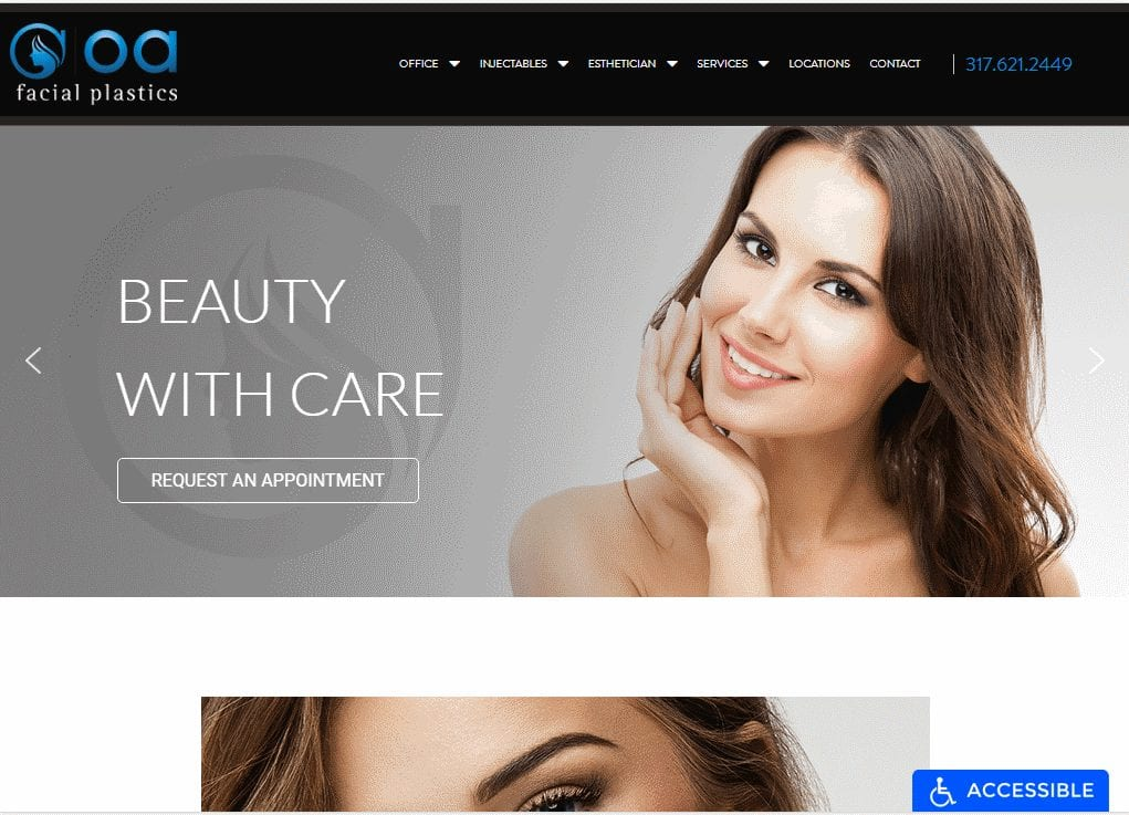 OAfacialplastics.com - Screenshot showing homepage of OA Facial Plastics