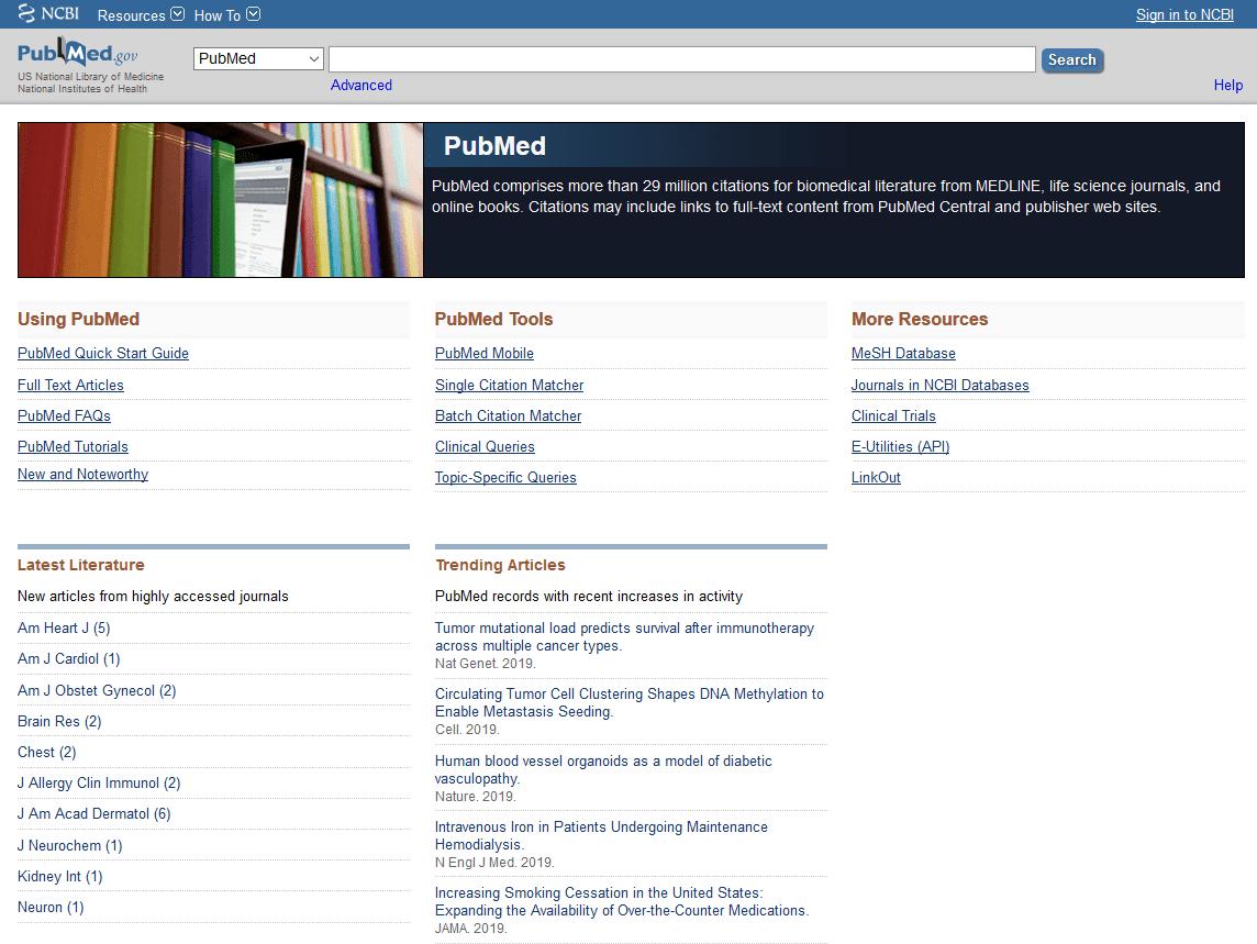Screenshot of pubmed.com website that shows medical articles