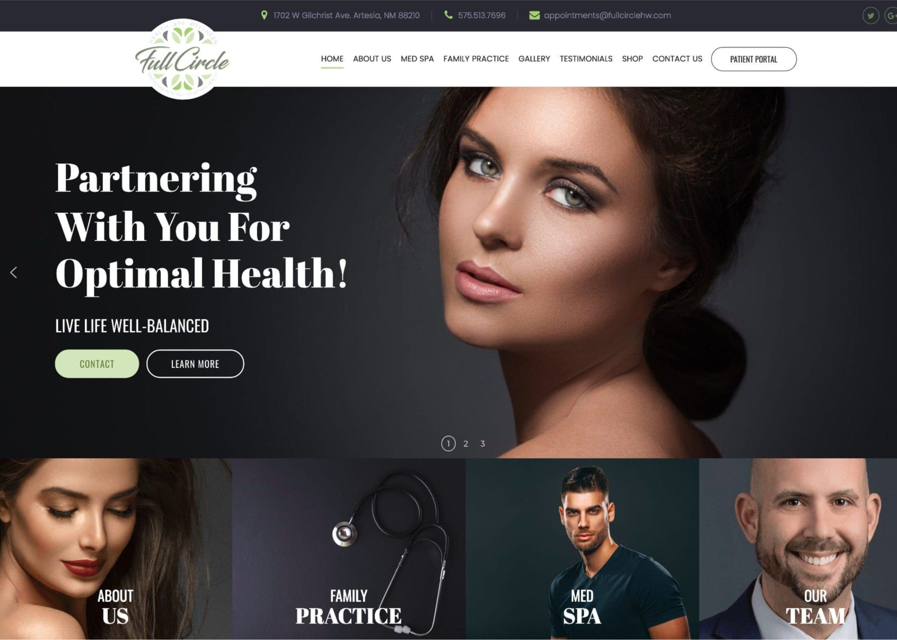 Full Circle Dental Group Website Screenshot