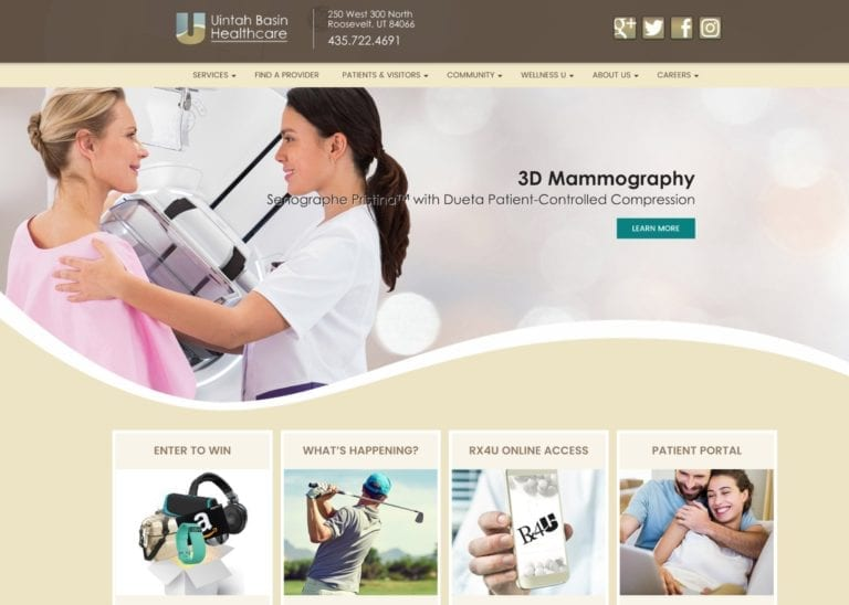 Unitah Basin healthcare website screenshot