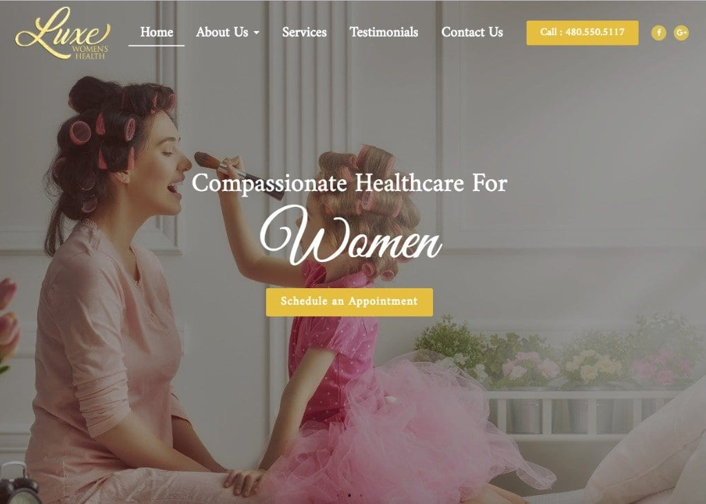 luxe-womens-health-website-screenshot