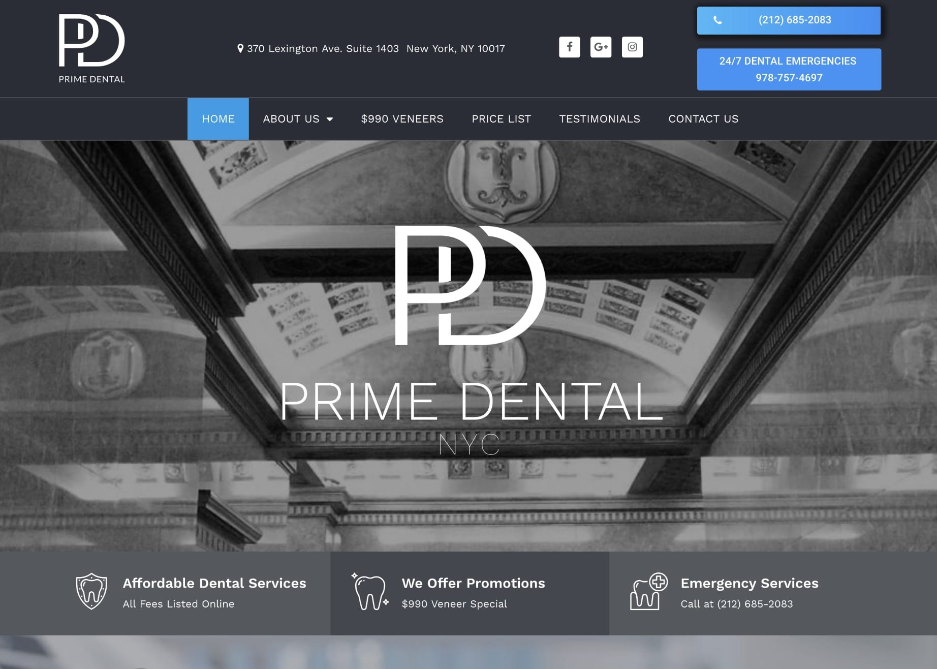 Prime dental website of new york screen shot.