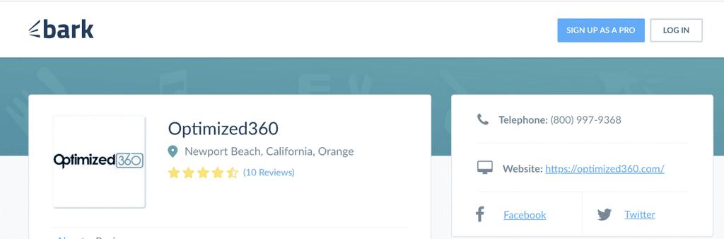 bark.com reviews for O360 optimized websites for doctors