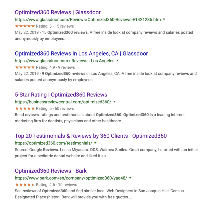 google search for reviews for o360 optimized websites for doctors