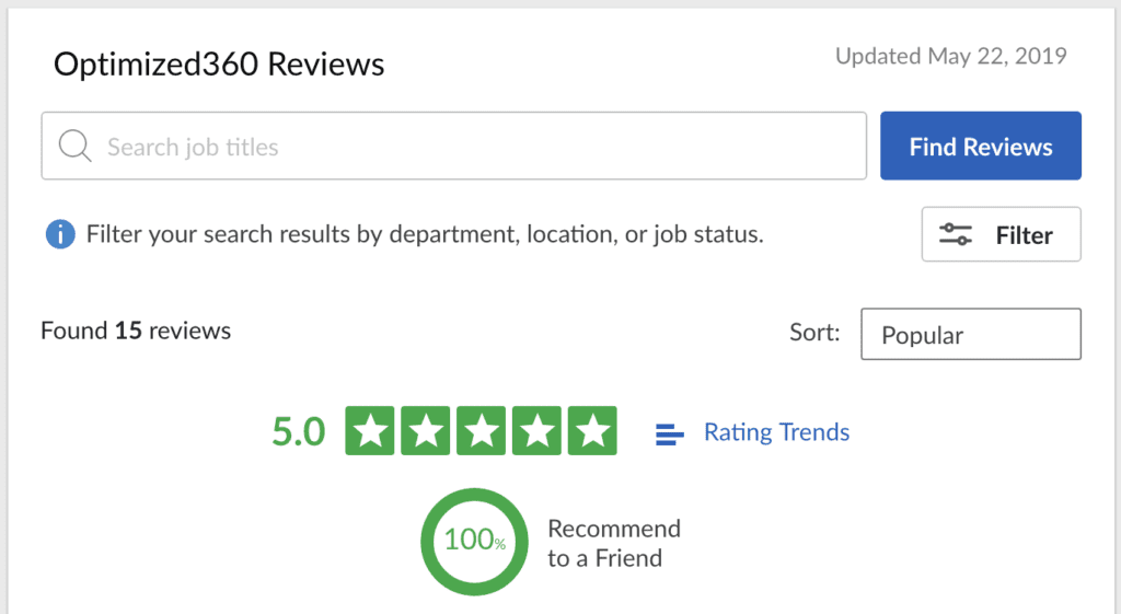 glassdoor.com reviews for O360 optimized websites for doctors