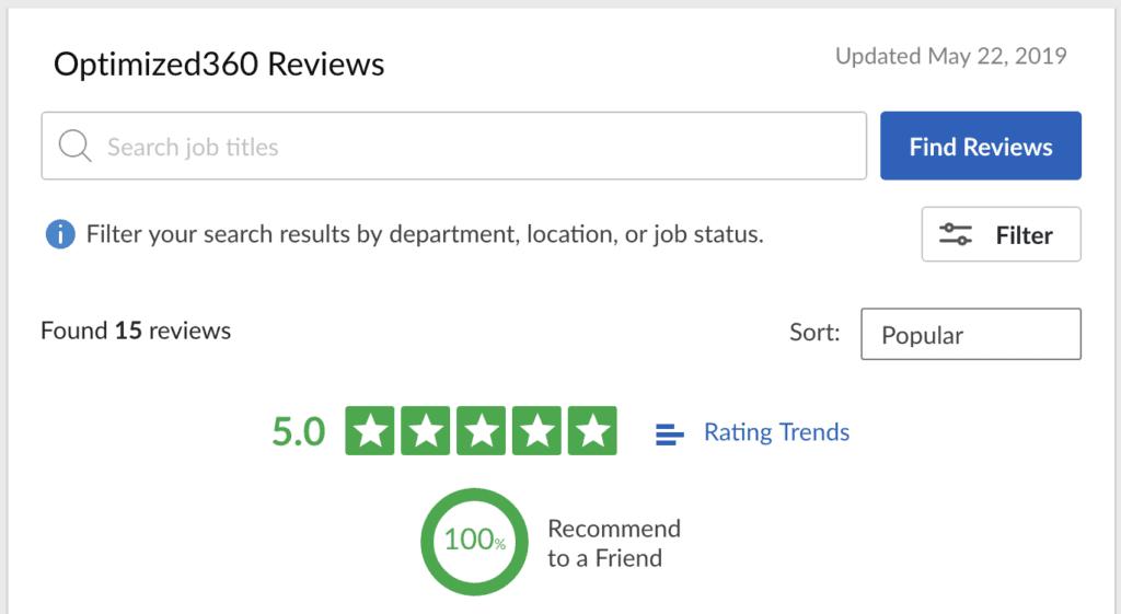 glassdoor.com reviews for O360 optimized websites for doctors
