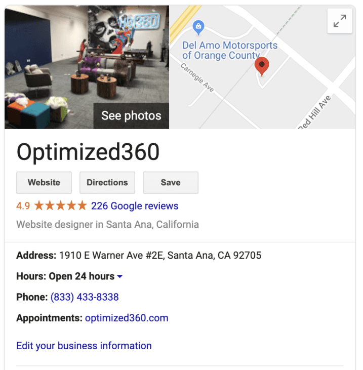 google my business reviews for O360 optimized websites for doctors