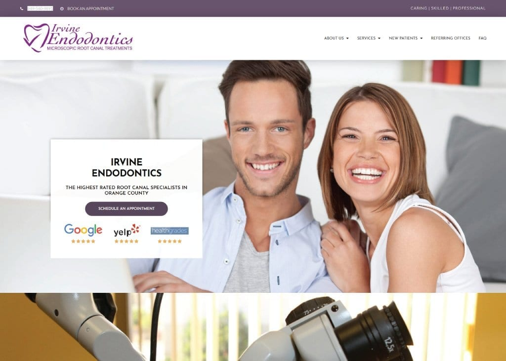 Screen capture of irvineendontics.com, an attractive young couple with broad, bright smiles.