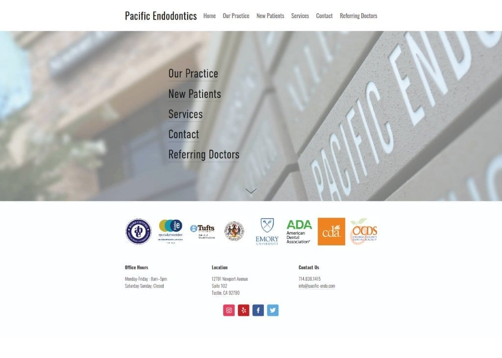 Screen capture of website pacific-endo.com, a close up of the business' name plate and menu options.