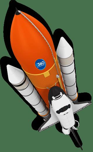 space rocket caring o360 logo representing marketing growth