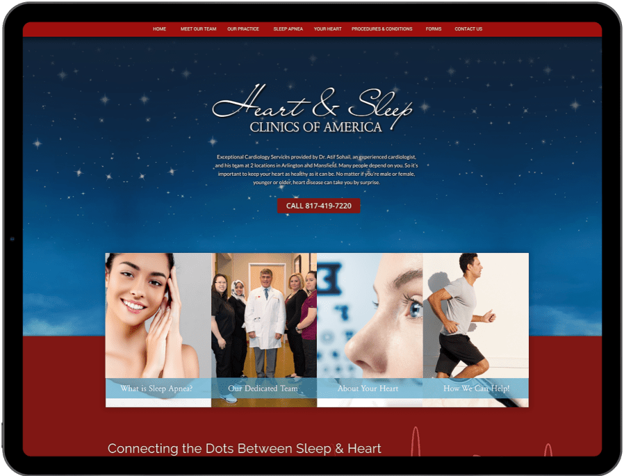 o360 website example of heart and sleep clinic