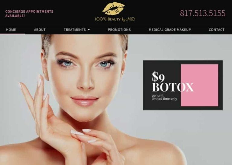 100 Beauty Md Website Screenshot