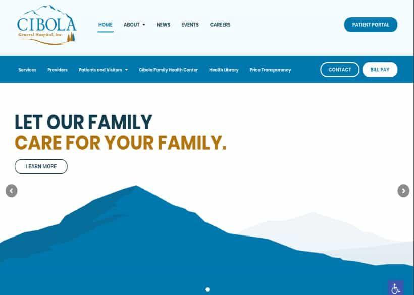 Cibola General Hospital Website Screenshot
